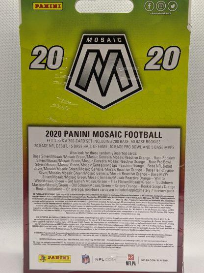 2020 Panini Mosaic Football Hanger Orange Walmart box factory sealed new, back.